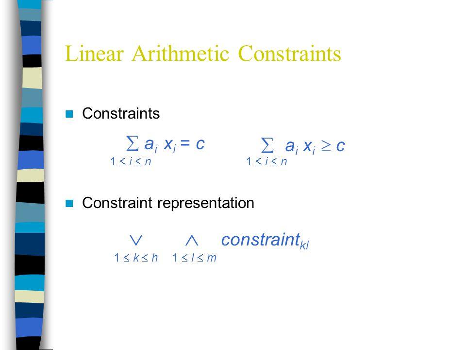 Linear Arithmetic Constraints Constraints Constraint representation  a i x i = c 1  i  n  a i x i  c 1  i  n   constraint kl 1  k  h1  l  m