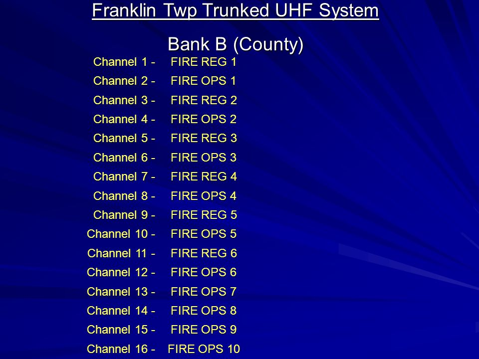Franklin Twp Trunked UHF System Bank A (Primary) Channel 1 - FIRE MAIN Channel 2 - DISTRICT 1 Channel 3 - FIRE OPS 1 Channel 4 - FIRE REGION 5 Channel 5 - FIRE OPS 5 Channel 6 - DISTRICT 2 Channel 7 - DISTRICT 3 Channel 8 - FIRE OPS 2 Channel 9 - INSPECTORS Channel 10 - EMS MAIN Channel 11 - EMRG SERV Channel 12 - EMRG SERV TA Channel 13 - TWP-911 Channel 14 - FRNK INTR OP Channel 15 - CNTY PAGE Channel 16 - FIRE MAIN Channels Listed in Green are County Trunked System Channels Channels Listed in Red are Backup Conventional Channels operating on the Franklin Sites