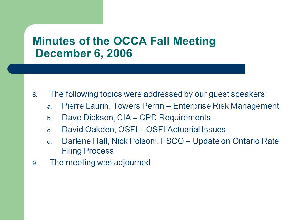 The following 19 persons have applied for admission as subscribers of OCCA: 1.