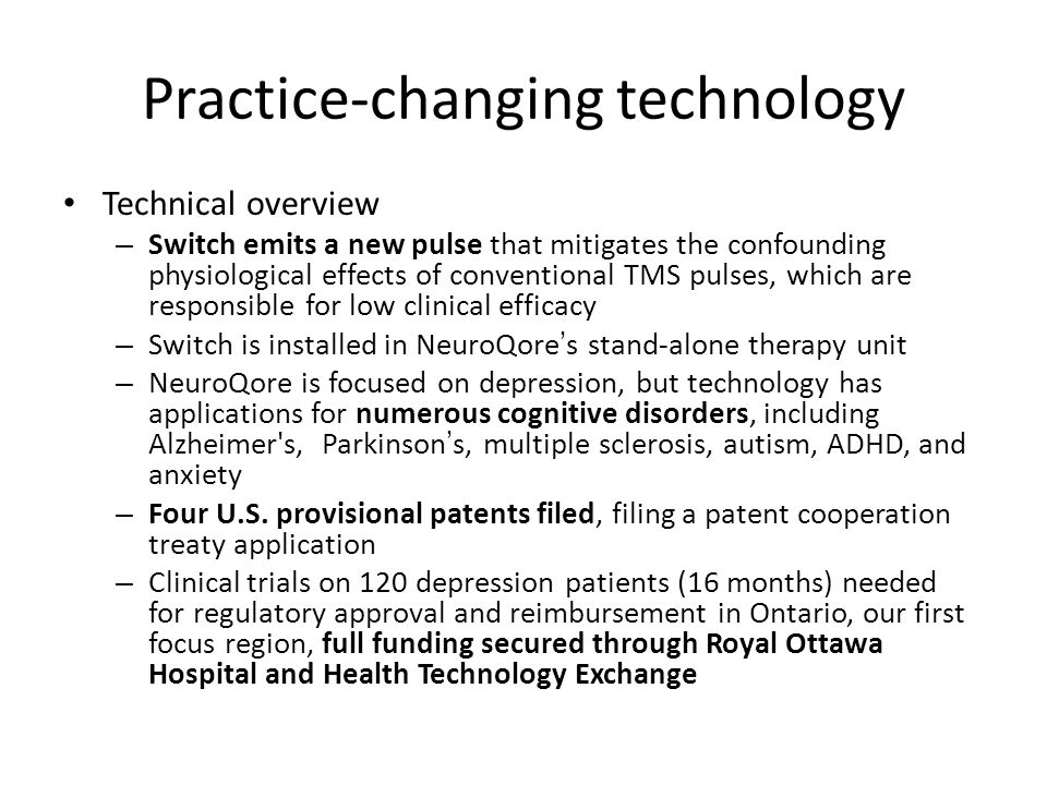 Practice-changing technology Technical overview – Switch emits a new pulse that mitigates the confounding physiological effects of conventional TMS pu
