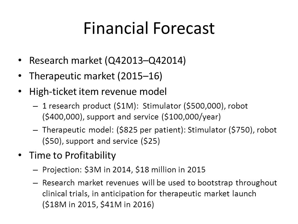 Financial Forecast Research market (Q42013–Q42014) Therapeutic market (2015–16) High-ticket item revenue model – 1 research product ($1M): Stimulator