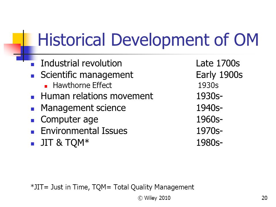© Wiley 201020 Historical Development of OM Industrial revolutionLate 1700s Scientific managementEarly 1900s Hawthorne Effect 1930s Human relations mo