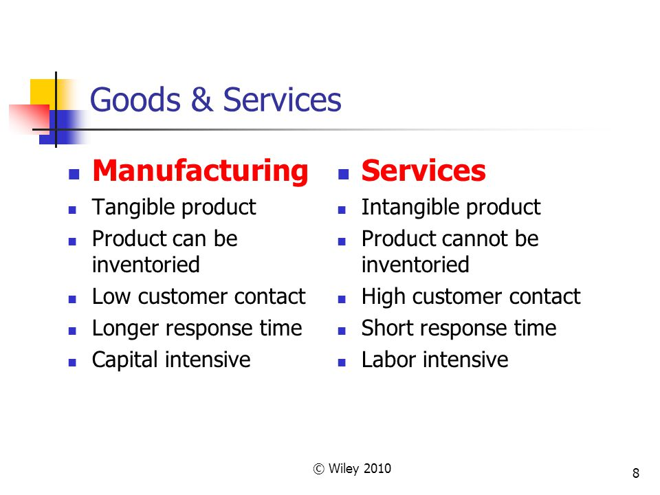 8 Goods & Services Services Intangible product Product cannot be inventoried High customer contact Short response time Labor intensive Manufacturing T