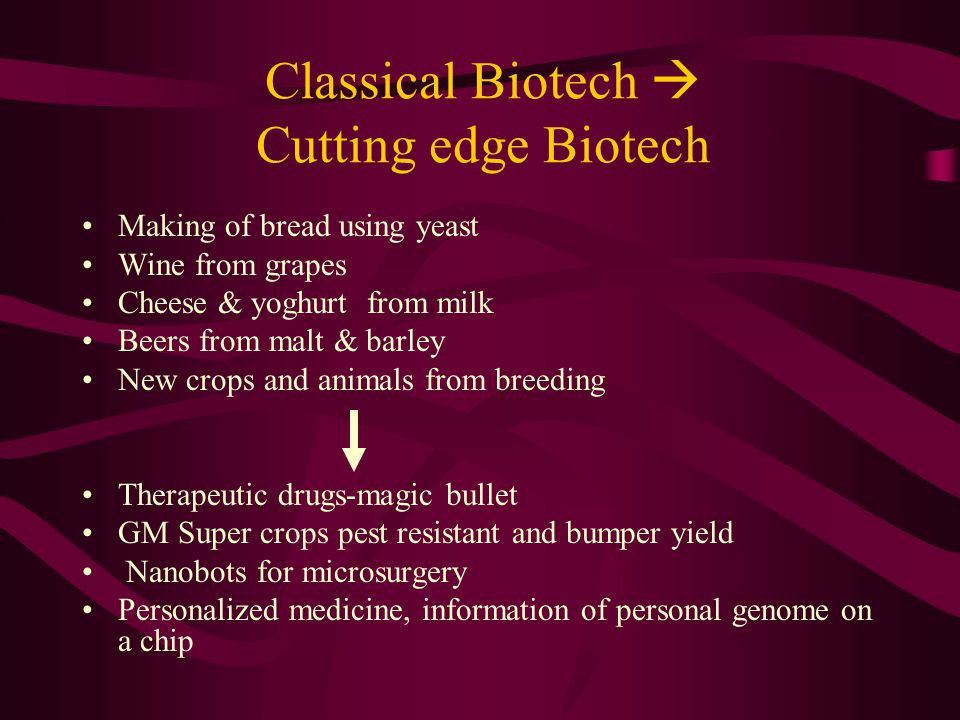 Classical Biotech  Cutting edge Biotech Making of bread using yeast Wine from grapes Cheese & yoghurt from milk Beers from malt & barley New crops and animals from breeding Therapeutic drugs-magic bullet GM Super crops pest resistant and bumper yield Nanobots for microsurgery Personalized medicine, information of personal genome on a chip