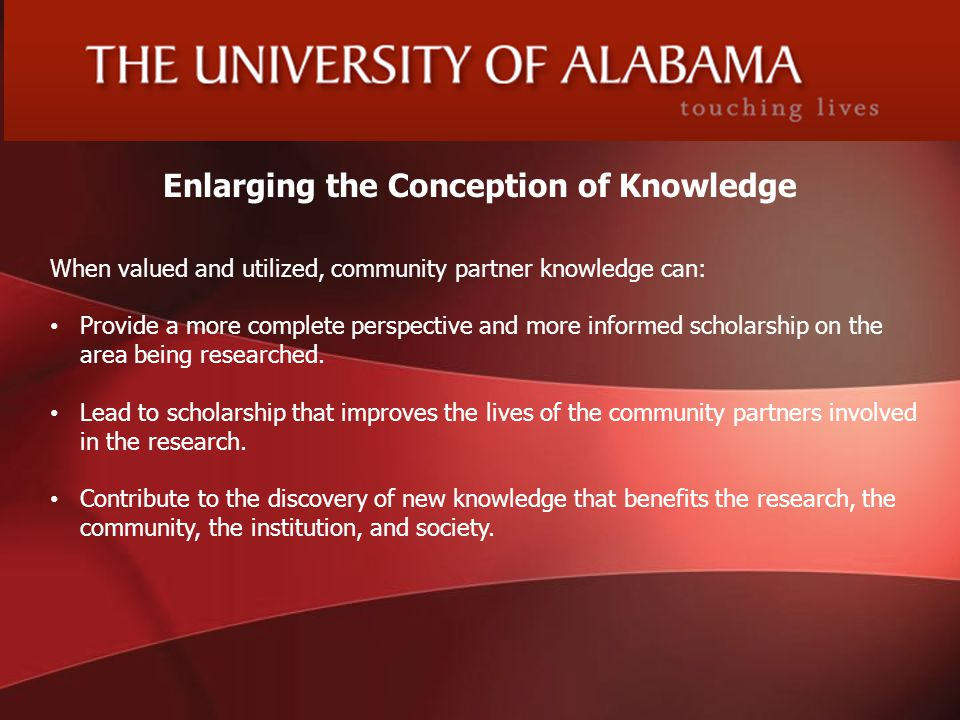 6 Enlarging the Conception of Knowledge Dr.