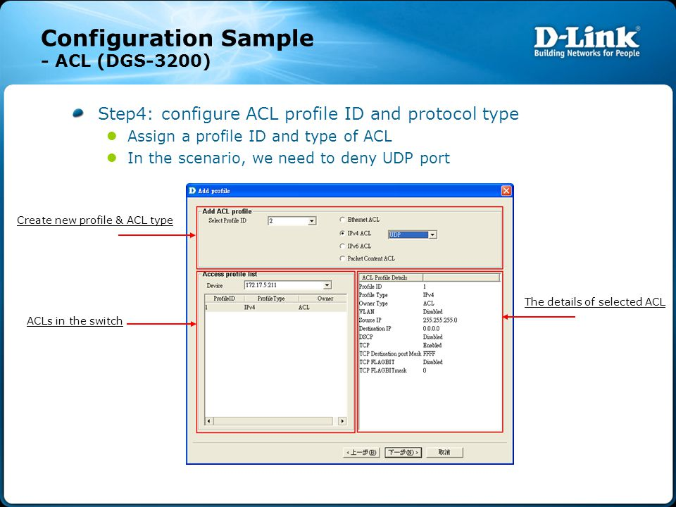 Configuration Sample - ACL (DGS-3200) Step4: configure ACL profile ID and protocol type Assign a profile ID and type of ACL In the scenario, we need to deny UDP port Create new profile & ACL type ACLs in the switch The details of selected ACL