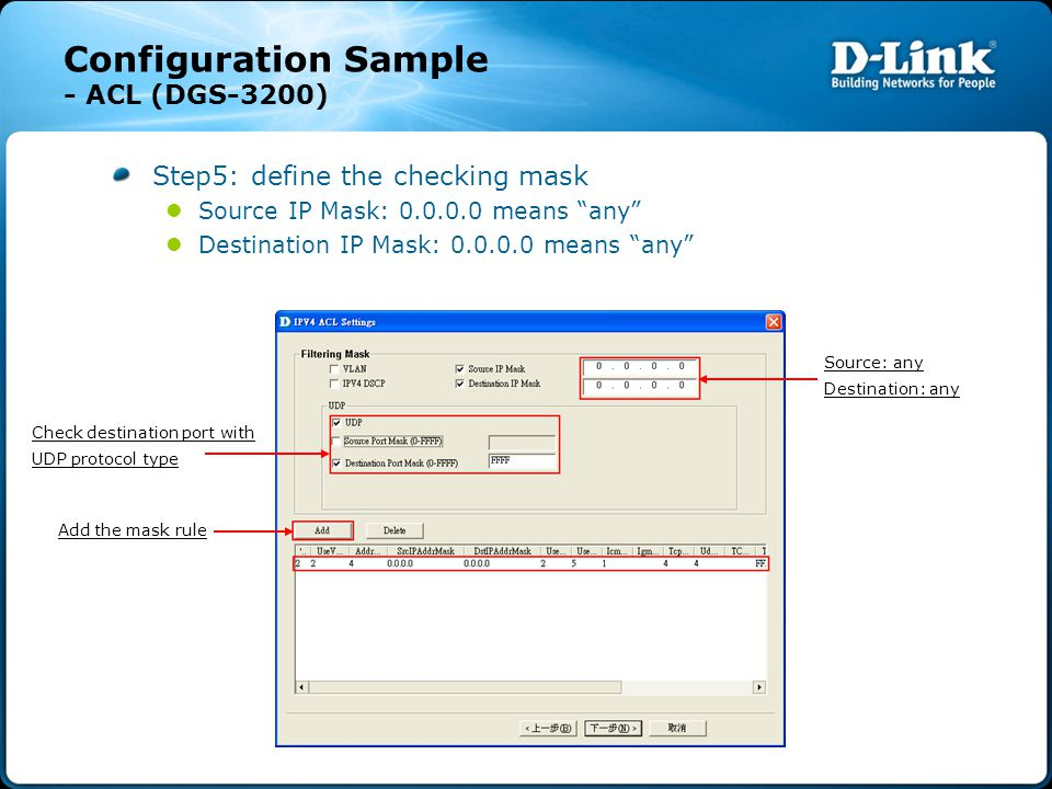 "Configuration Sample - ACL (DGS-3200) Step5: define the checking mask Source IP Mask: 0.0.0.0 means ""any"" Destination IP Mask: 0.0.0.0 means ""any"" Sou"