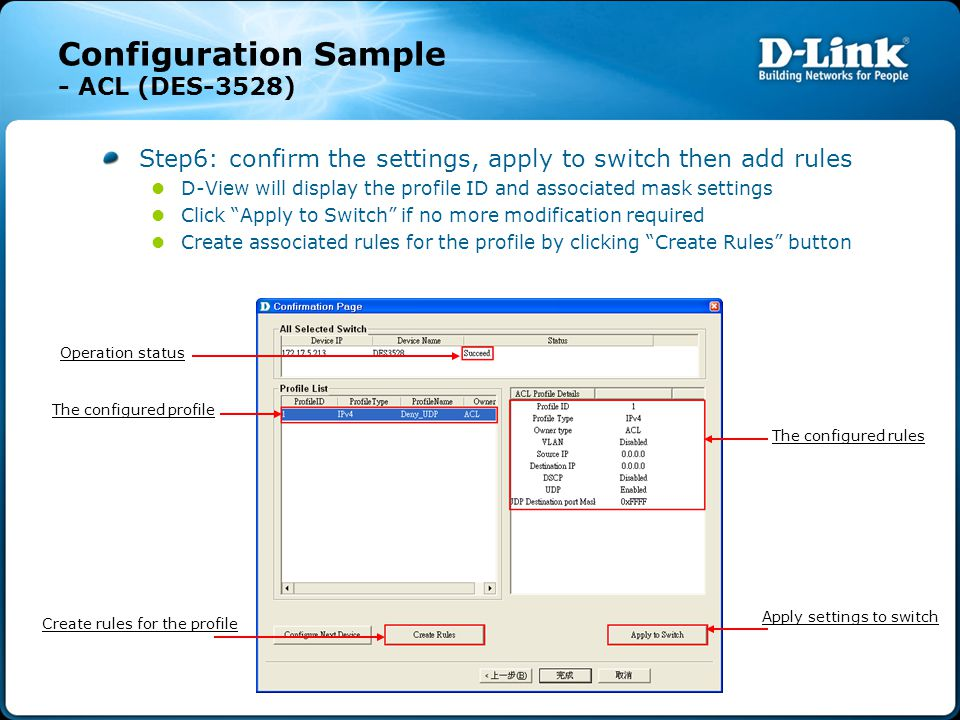 Step6: confirm the settings, apply to switch then add rules D-View will display the profile ID and associated mask settings Click Apply to Switch if no more modification required Create associated rules for the profile by clicking Create Rules button Configuration Sample - ACL (DES-3528) The configured rules The configured profile Apply settings to switch Create rules for the profile Operation status
