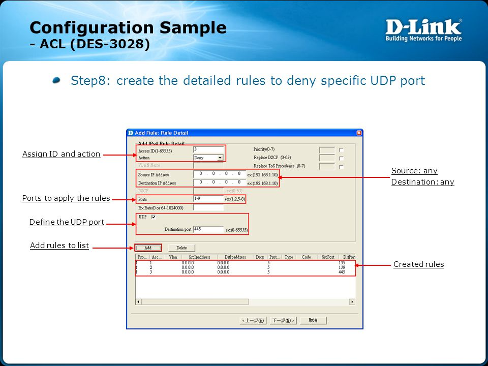 Configuration Sample - ACL (DES-3028) Step8: create the detailed rules to deny specific UDP port Source: any Destination: any Define the UDP port Crea