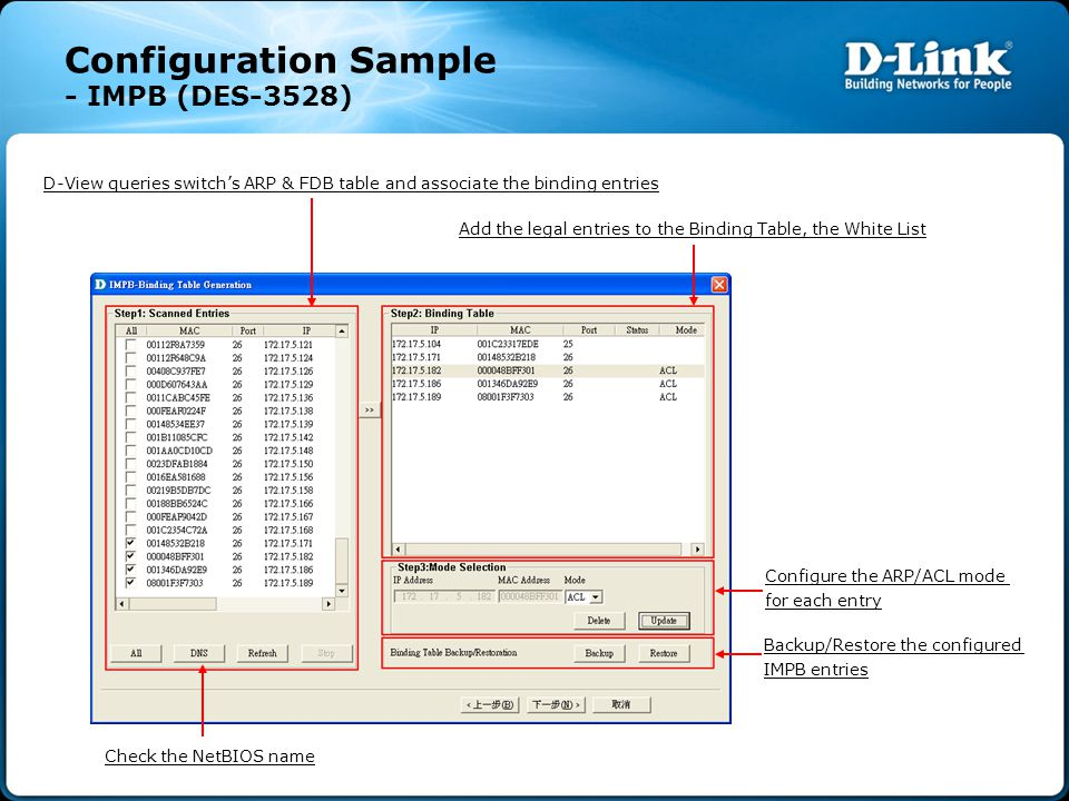 Configuration Sample - IMPB (DES-3528) D-View queries switch's ARP & FDB table and associate the binding entries Add the legal entries to the Binding Table, the White List Configure the ARP/ACL mode for each entry Backup/Restore the configured IMPB entries Check the NetBIOS name