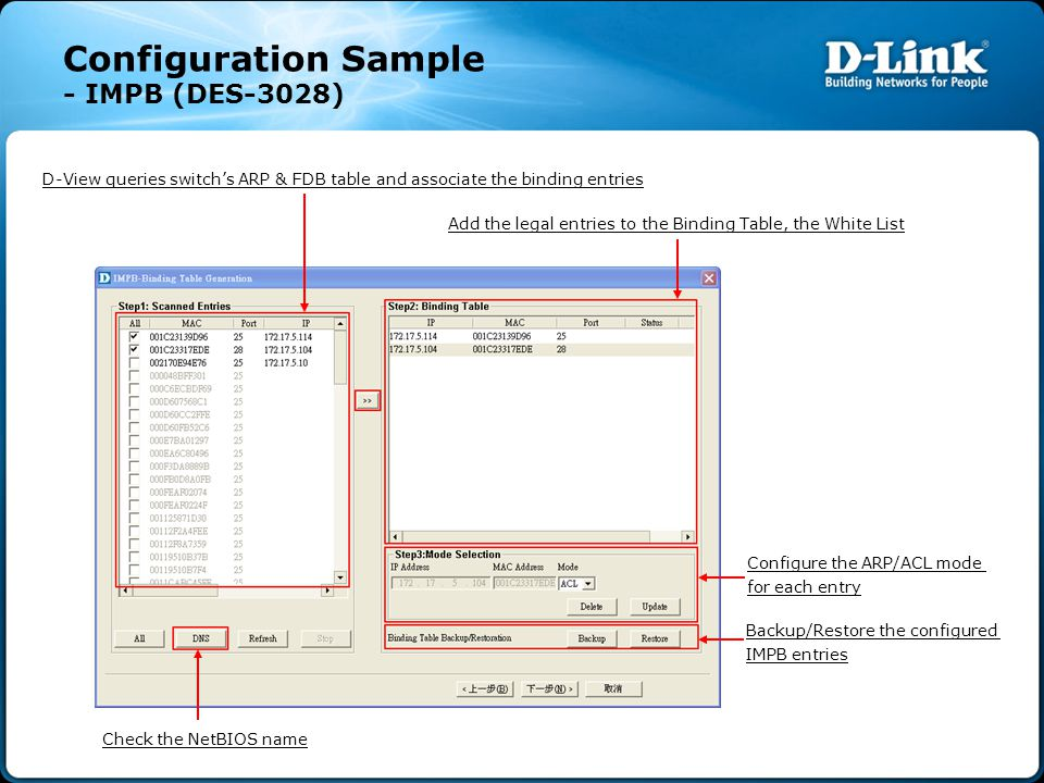 Configuration Sample - IMPB (DES-3028) D-View queries switch's ARP & FDB table and associate the binding entries Add the legal entries to the Binding Table, the White List Configure the ARP/ACL mode for each entry Backup/Restore the configured IMPB entries Check the NetBIOS name