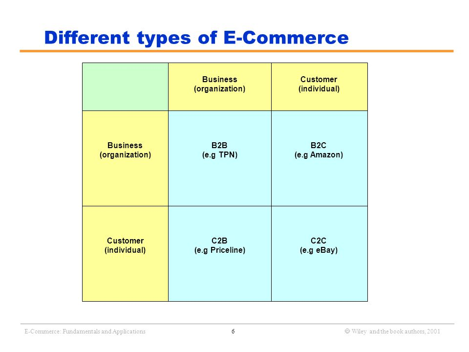 _______________________________________________________________________________________________________________ E-Commerce: Fundamentals and Applications7  Wiley and the book authors, 2001 Examples B2C: www.amazon.comwww.amazon.com C2C: www.eBay.comwww.eBay.com B2B: www.tpn.comwww.tpn.com C2B: www.priceline.comwww.priceline.com Let's visit these web sites in turn and discuss its features.