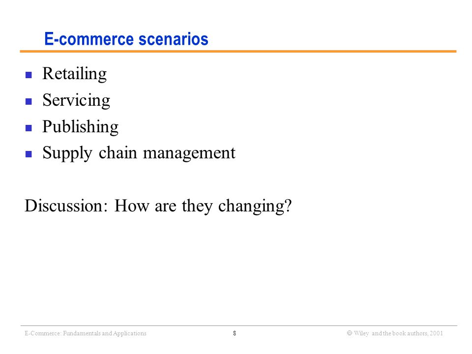 _______________________________________________________________________________________________________________ E-Commerce: Fundamentals and Applications9  Wiley and the book authors, 2001 What are the advantages of e-commerce.