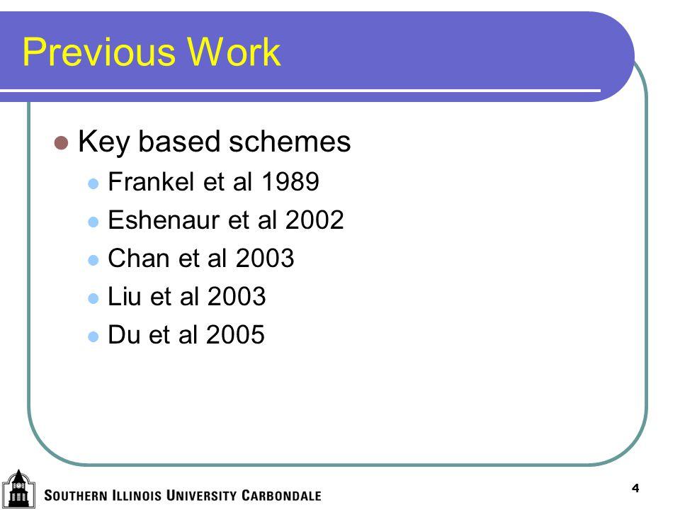 4 Previous Work Key based schemes Frankel et al 1989 Eshenaur et al 2002 Chan et al 2003 Liu et al 2003 Du et al 2005