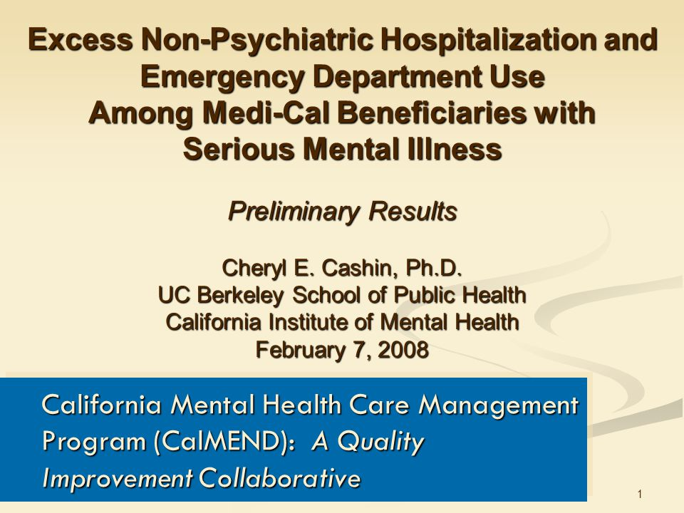 1 Excess Non-Psychiatric Hospitalization and Emergency Department Use Among Medi-Cal Beneficiaries with Serious Mental Illness Preliminary Results Cheryl E.