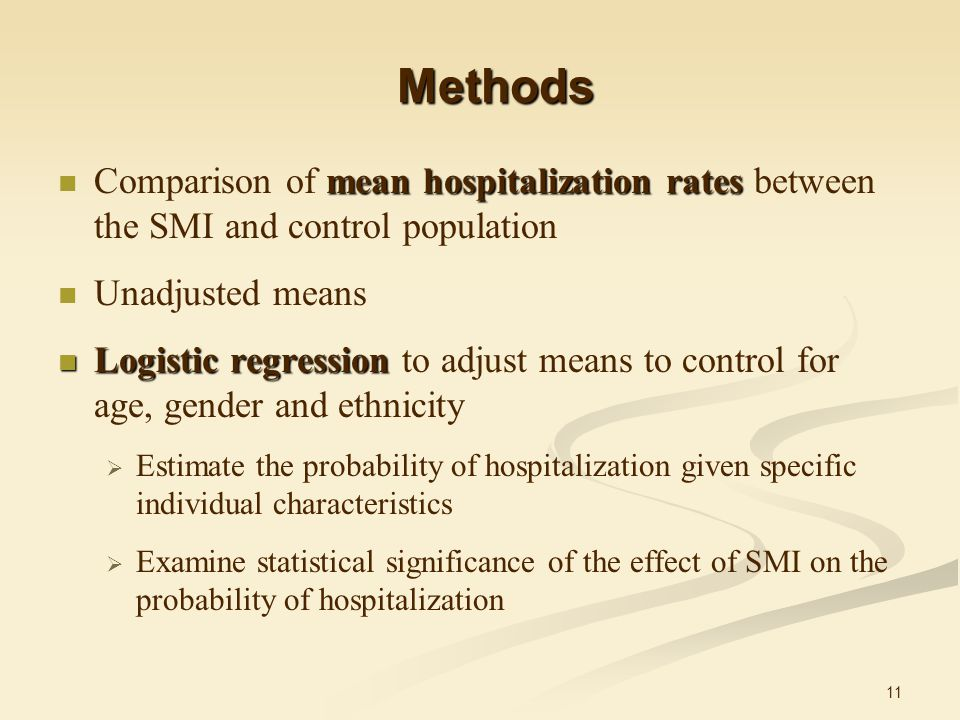 11 Methods mean hospitalization rates Comparison of mean hospitalization rates between the SMI and control population Unadjusted means Logistic regression Logistic regression to adjust means to control for age, gender and ethnicity  Estimate the probability of hospitalization given specific individual characteristics  Examine statistical significance of the effect of SMI on the probability of hospitalization