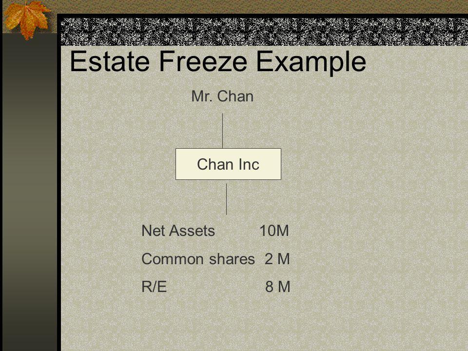 Estate Freeze Example Mr. Chan Chan Inc Net Assets 10M Common shares 2 M R/E 8 M