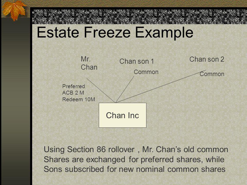 Estate Freeze Example Mr.