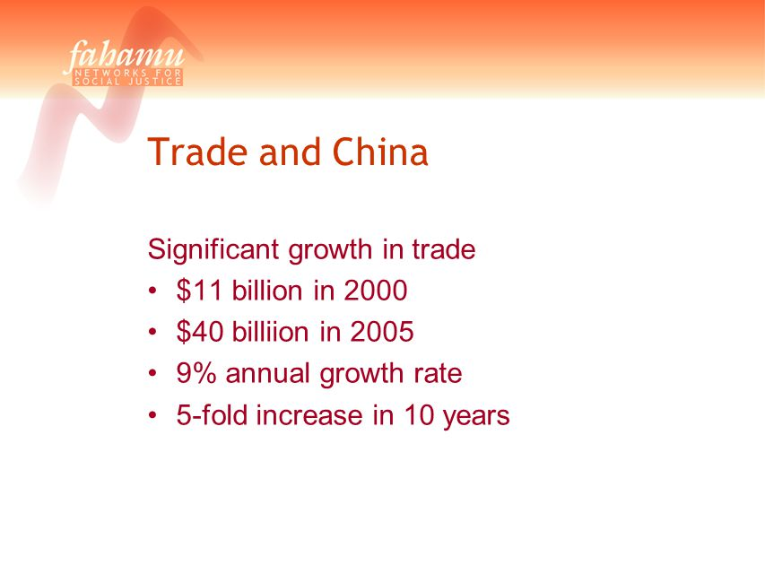 Trade and China Significant growth in trade $11 billion in 2000 $40 billiion in 2005 9% annual growth rate 5-fold increase in 10 years
