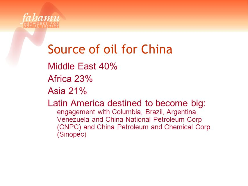 Source of oil for China Middle East 40% Africa 23% Asia 21% Latin America destined to become big: engagement with Columbia, Brazil, Argentina, Venezue