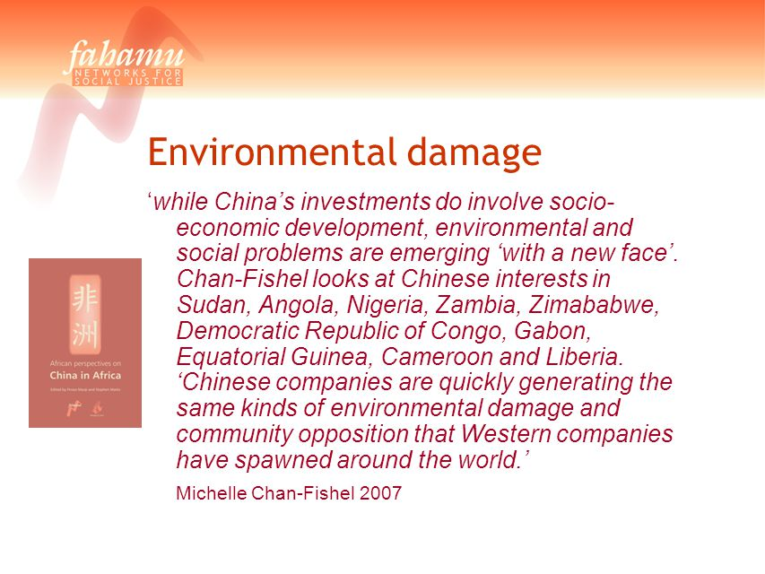 Environmental damage 'while China's investments do involve socio- economic development, environmental and social problems are emerging 'with a new fac