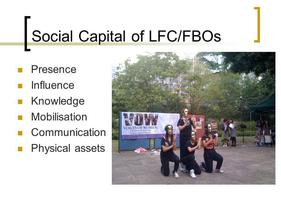 Social Capital of LFC/FBOs Presence Influence Knowledge Mobilisation Communication Physical assets