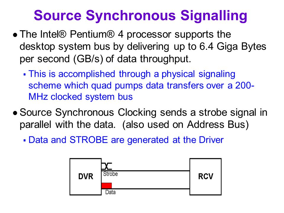 Source Synchronous Signalling The Intel® Pentium® 4 processor supports the desktop system bus by delivering up to 6.4 Giga Bytes per second (GB/s) of data throughput.