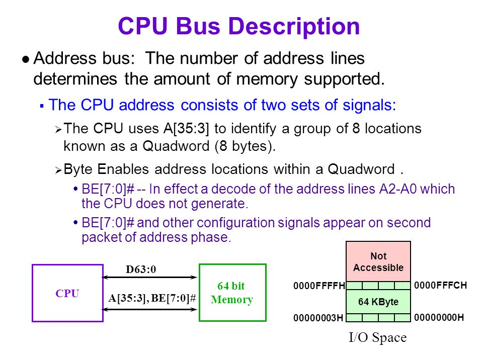 CPU Bus Description Address bus: The number of address lines determines the amount of memory supported.