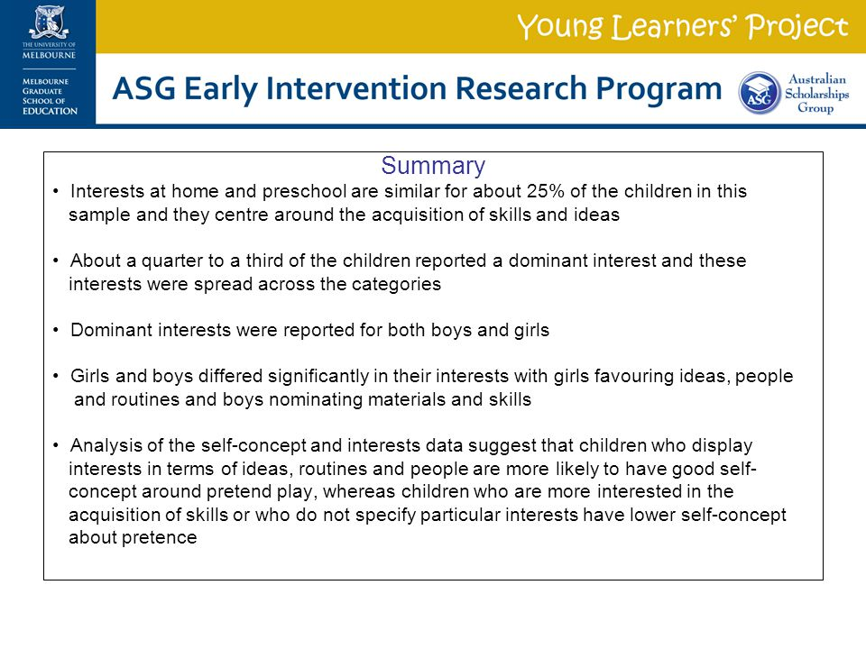 Summary Interests at home and preschool are similar for about 25% of the children in this sample and they centre around the acquisition of skills and