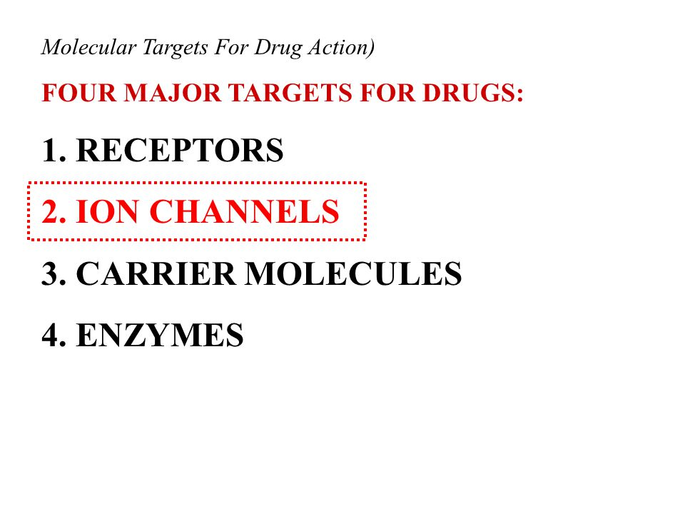 Molecular Targets For Drug Action) FOUR MAJOR TARGETS FOR DRUGS: 1.