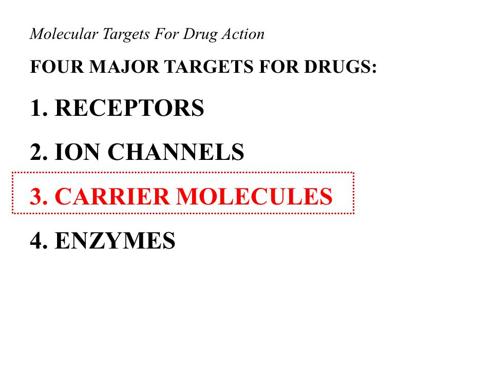 Molecular Targets For Drug Action FOUR MAJOR TARGETS FOR DRUGS: 1.