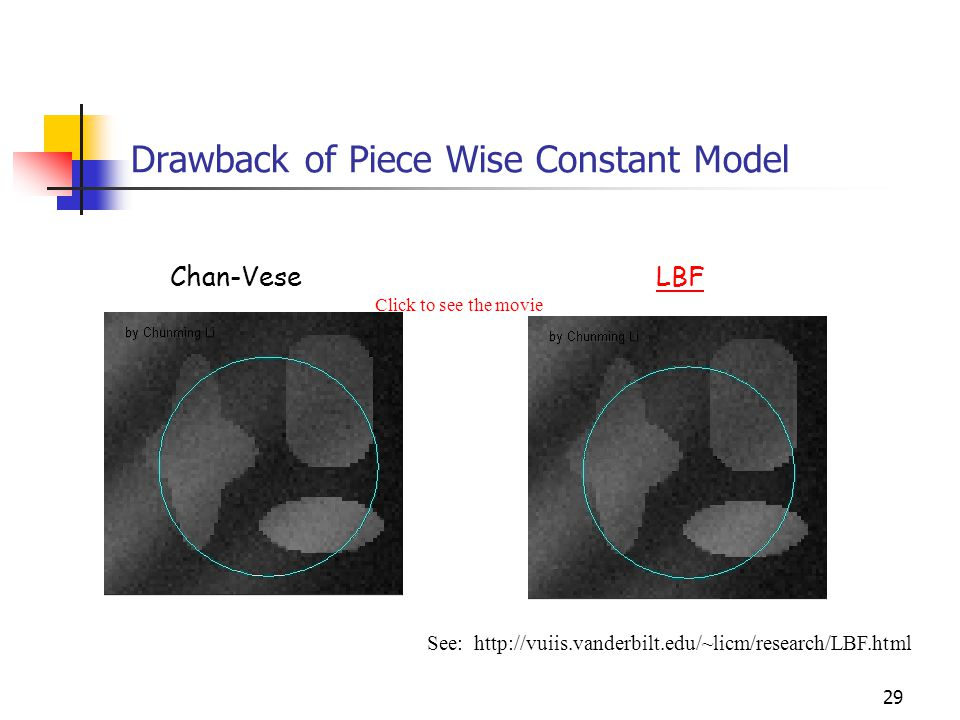 29 Drawback of Piece Wise Constant Model Chan-VeseLBF See: http://vuiis.vanderbilt.edu/~licm/research/LBF.html Click to see the movie