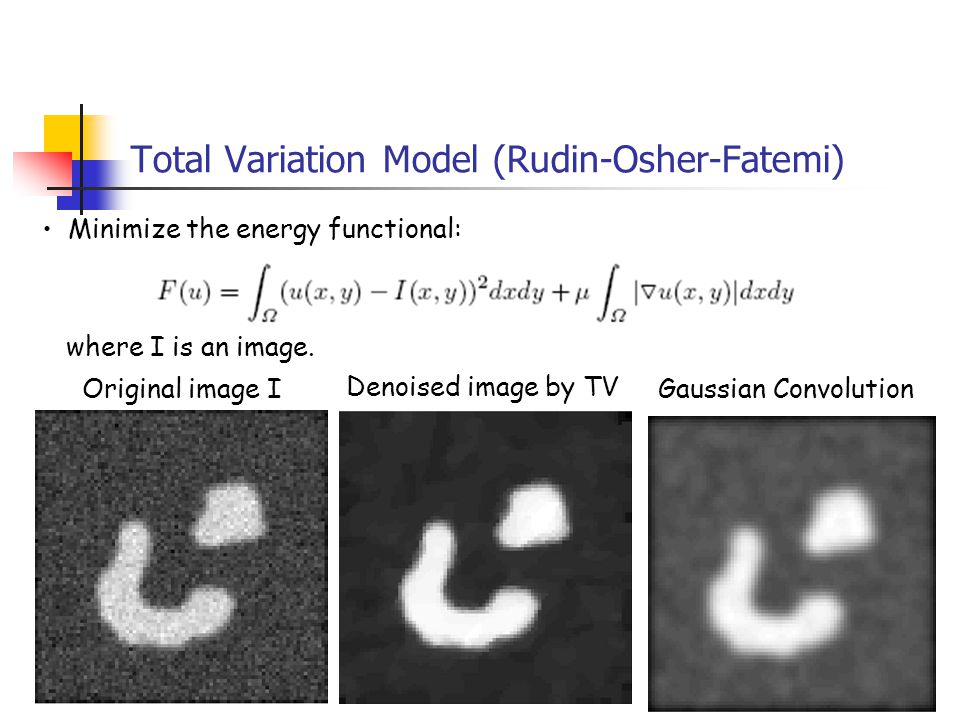 4 Total Variation Model (Rudin-Osher-Fatemi) Minimize the energy functional: where I is an image. Original image I Denoised image by TV Gaussian Convo
