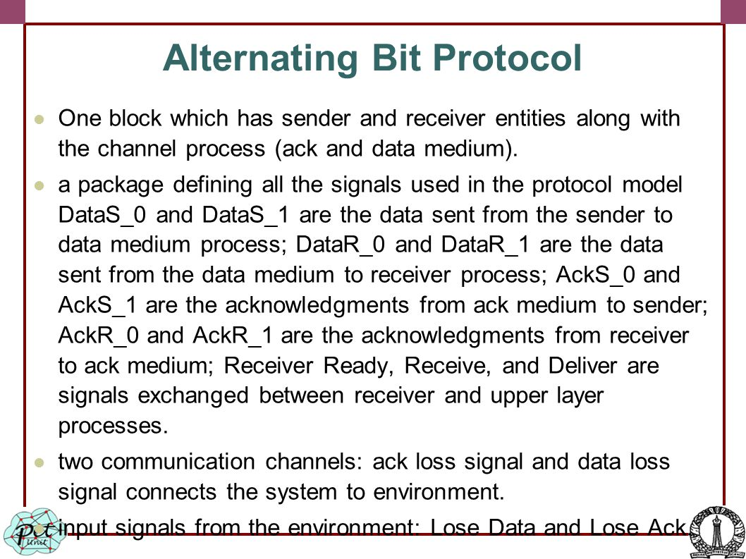 Alternating Bit Protocol One block which has sender and receiver entities along with the channel process (ack and data medium).