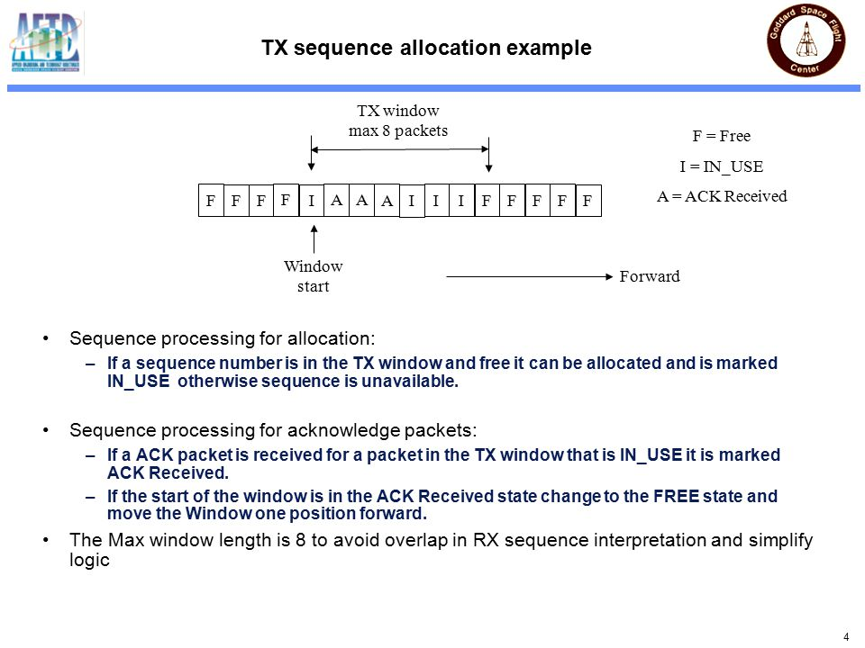 4 TX sequence allocation example Sequence processing for allocation: –If a sequence number is in the TX window and free it can be allocated and is marked IN_USE otherwise sequence is unavailable.