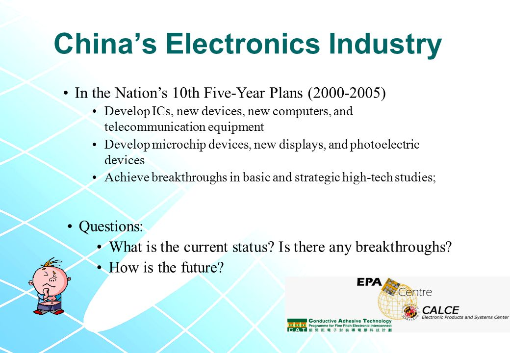 In the Nation's 10th Five-Year Plans (2000-2005) Develop ICs, new devices, new computers, and telecommunication equipment Develop microchip devices, new displays, and photoelectric devices Achieve breakthroughs in basic and strategic high-tech studies; Questions: What is the current status.