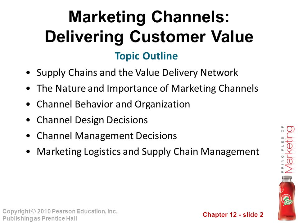 Chapter 12 - slide 2 Copyright © 2010 Pearson Education, Inc. Publishing as Prentice Hall Marketing Channels: Delivering Customer Value Supply Chains