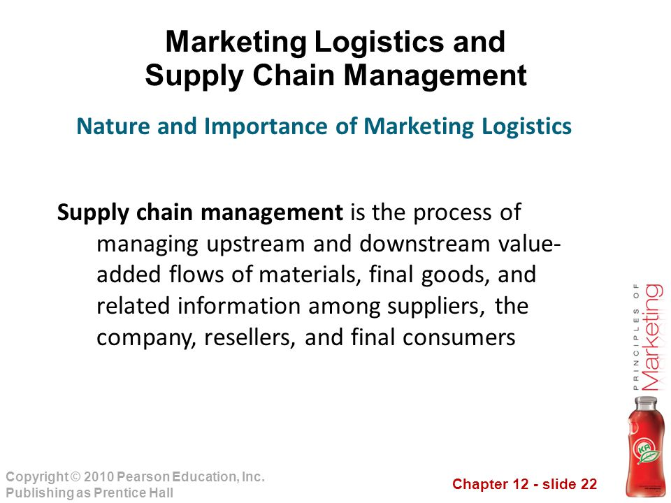 Chapter 12 - slide 22 Copyright © 2010 Pearson Education, Inc. Publishing as Prentice Hall Marketing Logistics and Supply Chain Management Supply chai