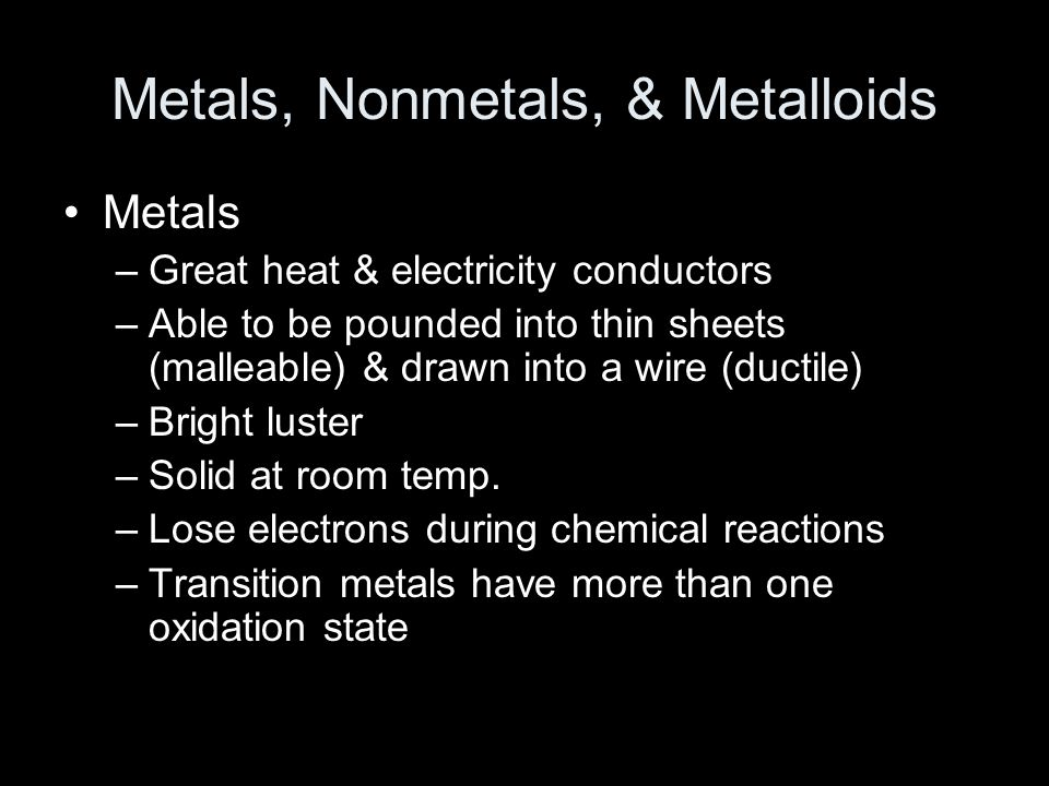 Metals, Nonmetals, & Metalloids Metals –Great heat & electricity conductors –Able to be pounded into thin sheets (malleable) & drawn into a wire (duct