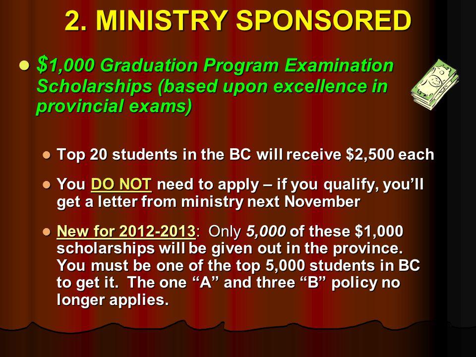 2. MINISTRY SPONSORED $ 1,000 Graduation Program Examination Scholarships (based upon excellence in provincial exams) $ 1,000 Graduation Program Exami