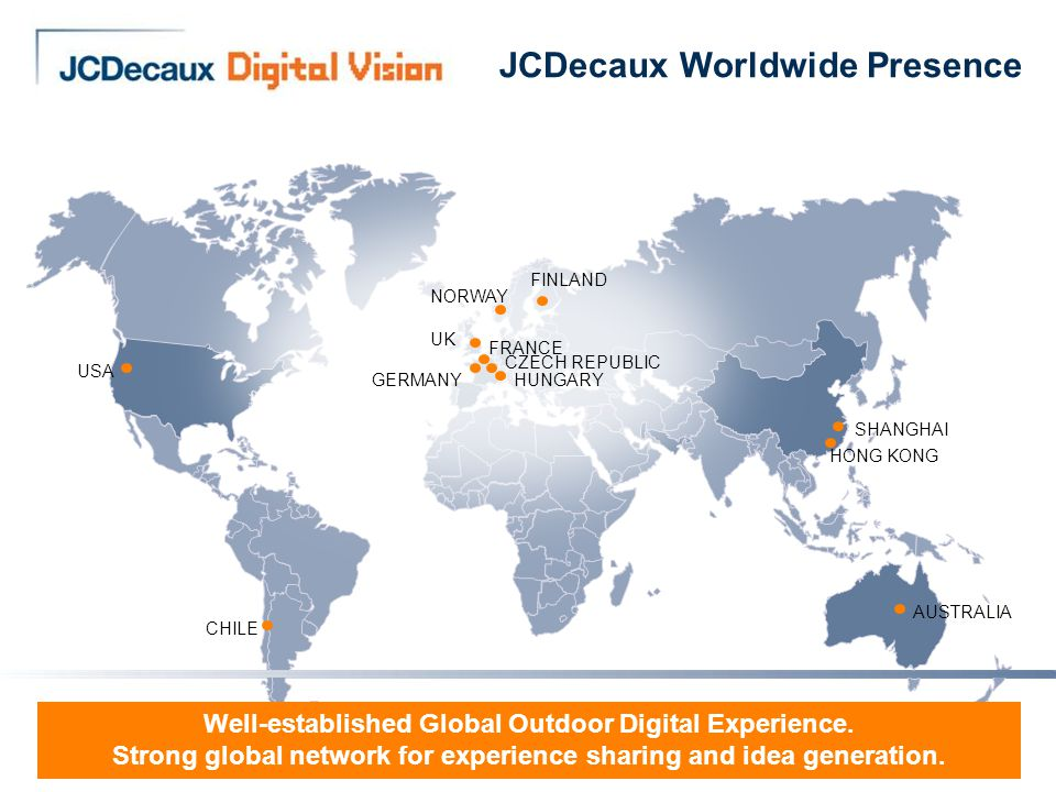 6 JCDecaux Worldwide Presence USA NORWAY FINLAND UK GERMANY FRANCE CZECH REPUBLIC HUNGARY CHILE AUSTRALIA Well-established Global Outdoor Digital Experience.