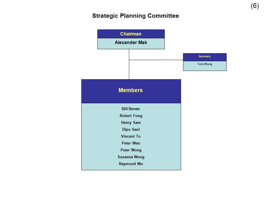 Strategic Planning Committee Members Bill Benter Robert Fung Henry Sam Dipo Sani Vincent To Peter Wan Peter Wong Suzanna Wong Raymond Wu Chairman Alex