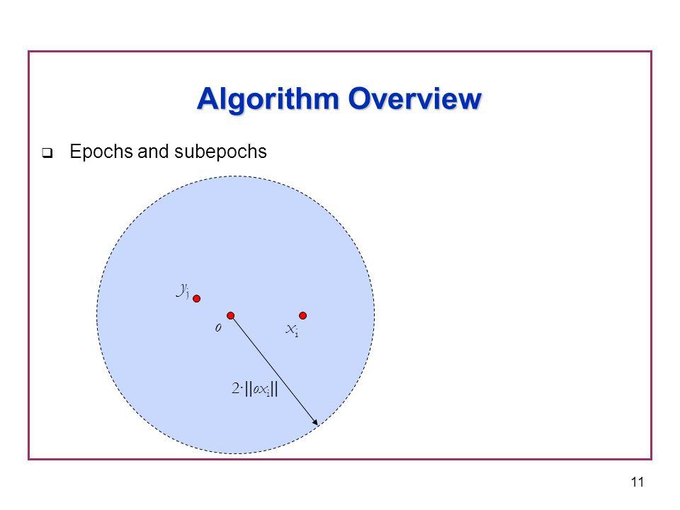 11  Epochs and subepochs Algorithm Overview o yjyj 2 ·|| ox i || xixi