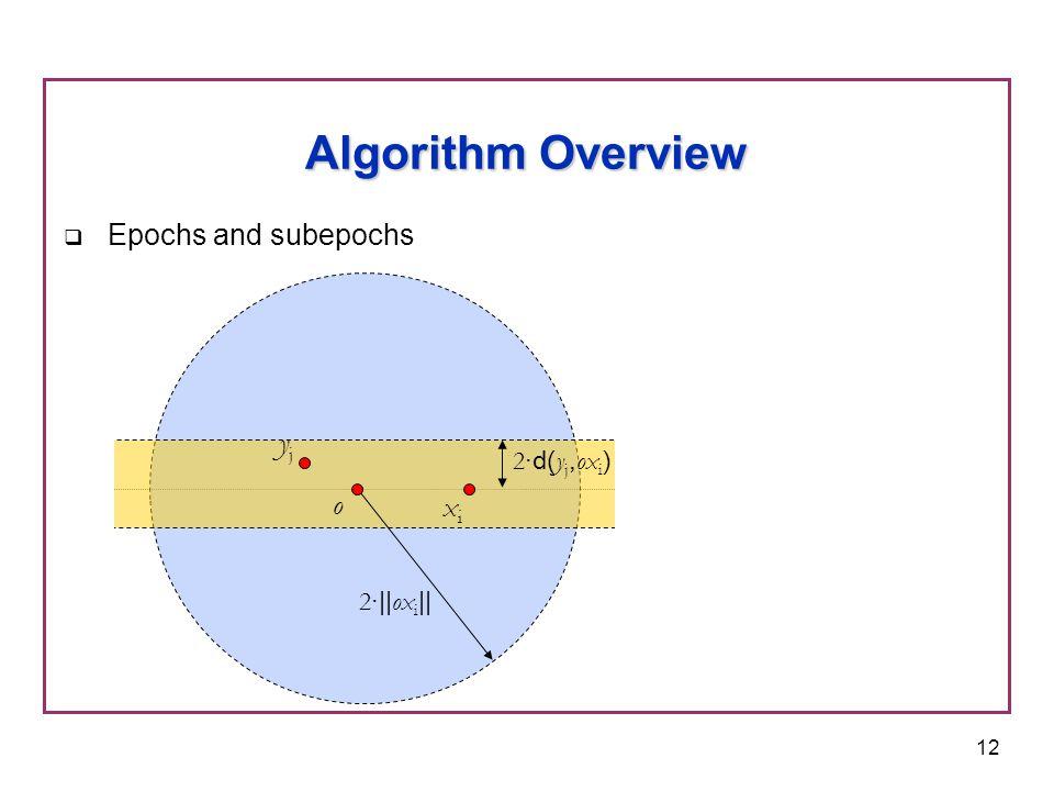 12  Epochs and subepochs Algorithm Overview o yjyj 2 ·|| ox i || xixi 2 ·d( y j, ox i )