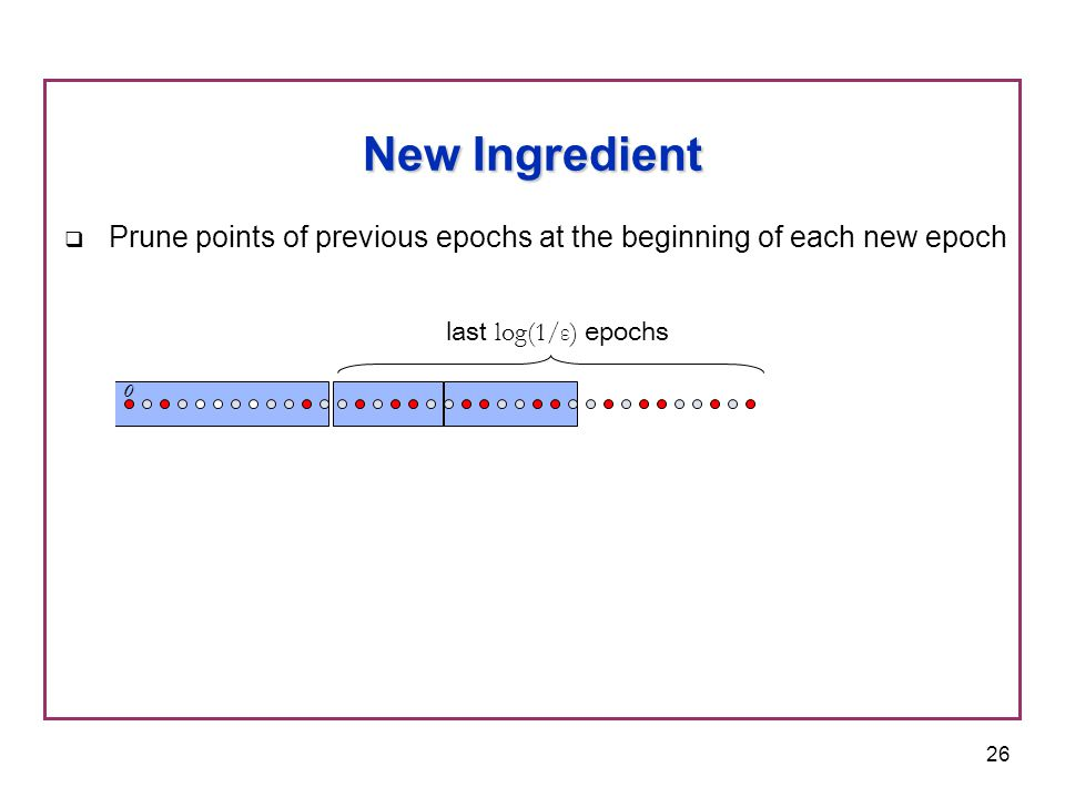 27 New Ingredient  Prune points of previous epochs at the beginning of each new epoch o x last log(1/ε) epochs