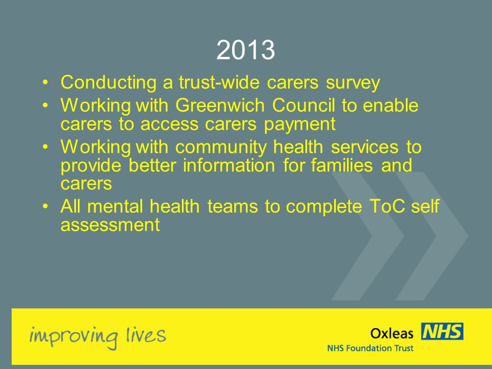 2013 Conducting a trust-wide carers survey Working with Greenwich Council to enable carers to access carers payment Working with community health services to provide better information for families and carers All mental health teams to complete ToC self assessment
