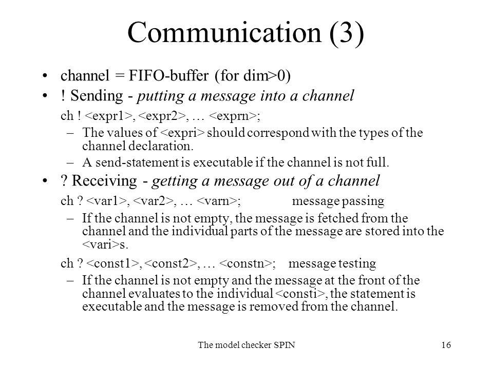 The model checker SPIN16 Communication (3) channel = FIFO-buffer (for dim>0) .