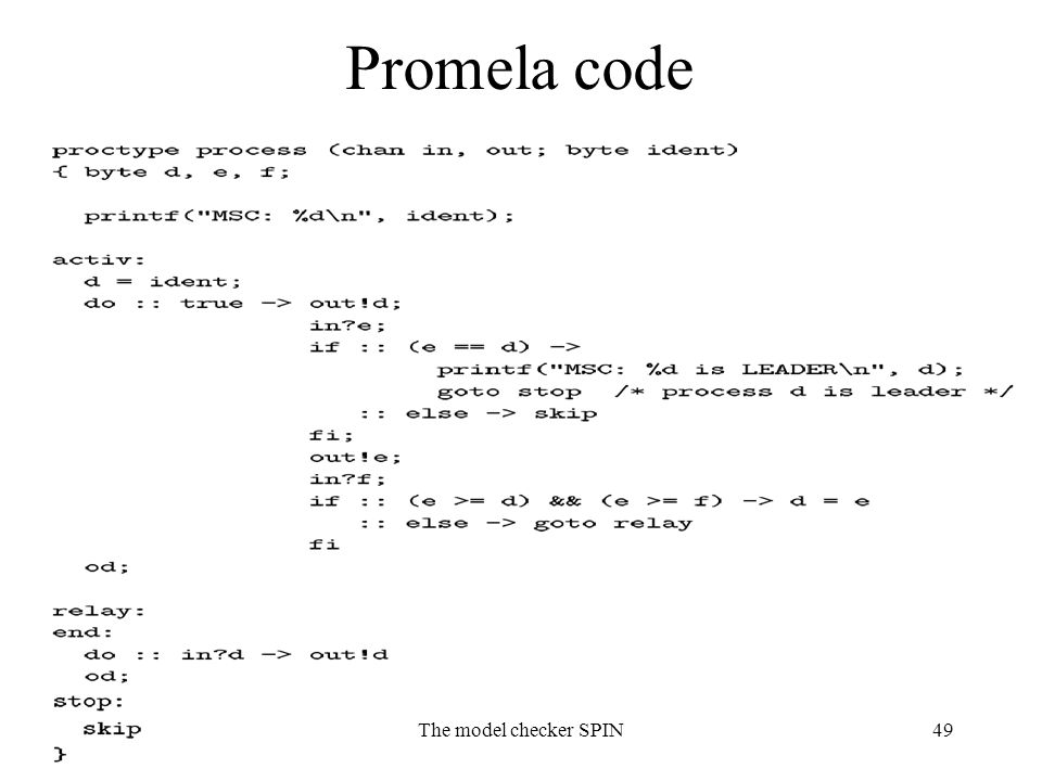 The model checker SPIN49 Promela code