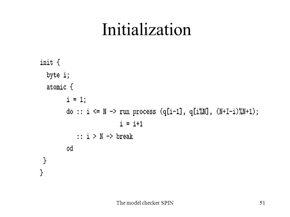 The model checker SPIN51 Initialization