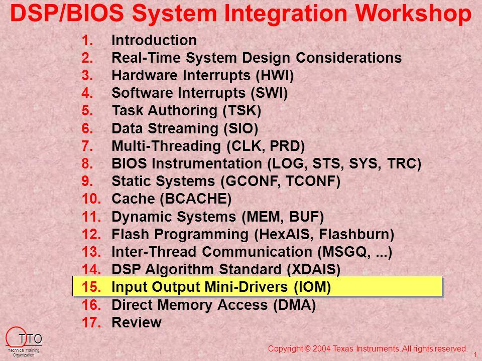 IOM Methods – Concepts 4/5 BIOS_init m dBindDev main myTsk() SIO_create MEM_alloc SIO_issue SIO_issue while(1) I SIO_reclaim dsp...